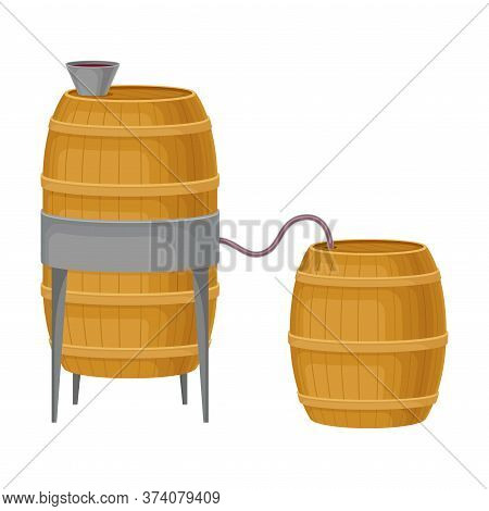 Grape Wine Pouring In Wooden Barrels For Storing In Cellar Vector Illustration