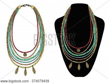 Bright Boho Style Necklace With Pendants. Vector