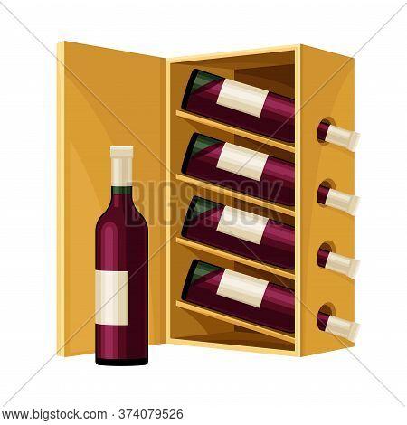 Grape Wine Glass Bottles Standing In Wooden Wine Rack In Cellar Vector Illustration