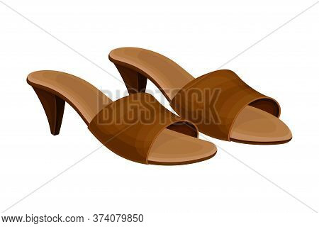 Heeled Backless Open Toe Shoes Or Peep-toes Vector Illustration