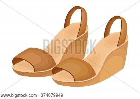 Backless Wedge Sandals With Latchet And With Open Toes Vector Illustration
