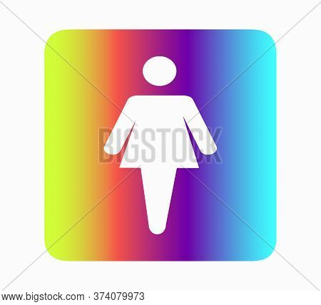 Female Toilet Icon Neon Rainbow Flat Design Vector Illustration. Restroom Icon, Toilet Sign. Vector