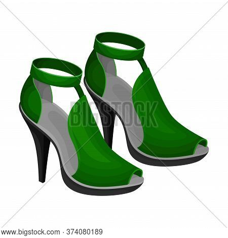 Heeled Open Toe Shoes Or Peep-toes With Latchets Vector Illustration