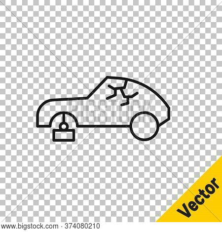 Black Line Broken Car Icon Isolated On Transparent Background. Car Crush. Vector Illustration