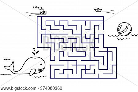 Black Coloring Pages With Maze. Cartoon Whale And Ball. Kids Education Art Game. Template Design Wit