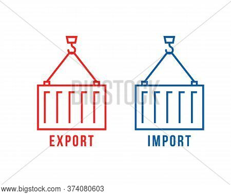 Cargo Container Like Export And Import. Concept Of Worldwide Shipping By Ship Or Boat And Facility F