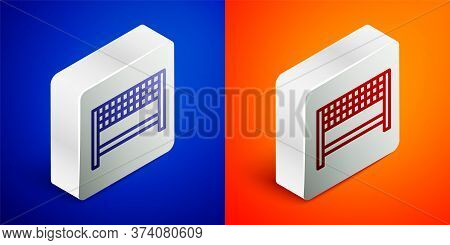Isometric Line Ribbon In Finishing Line Icon Isolated On Blue And Orange Background. Symbol Of Finis