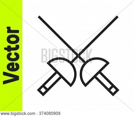 Black Line Fencing Icon Isolated On White Background. Sport Equipment. Vector Illustration
