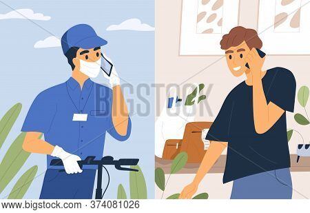 Contactless Shipment Service Vector Flat Illustration. Male Courier In Medical Mask And Gloves Talk