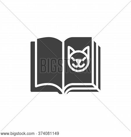 Zoology Book Vector Icon. Filled Flat Sign For Mobile Concept And Web Design. Open Book Page With Ca