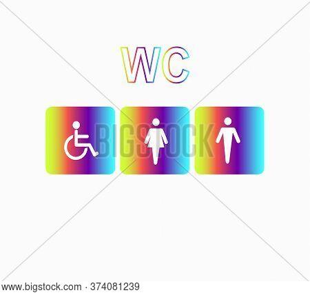 Vector Man & Woman Restroom Sign Flat Design Vector Illustration
