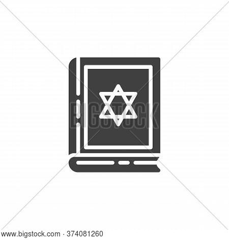 Jewish Bible Book Vector Icon. Filled Flat Sign For Mobile Concept And Web Design. Hebrew Bible With