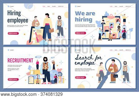 Recruiting And Staff Hiring Web Page Mockups Set New Employees And Employers Cartoon Characters Flat