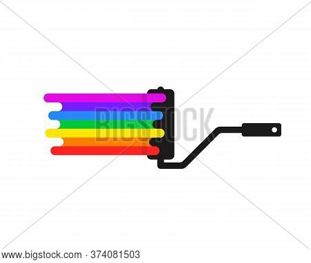 Simple Paint Roller With Rainbow Color. Cartoon Trend Modern Diy Logotype Graphic Art Design Isolate