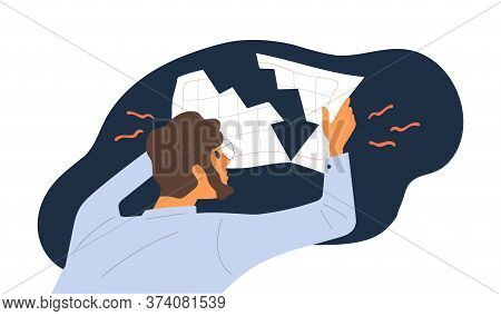 Shocked Male Hold Document With Financial Graph Downturn Vector Flat Illustration. Economist Guy Loo