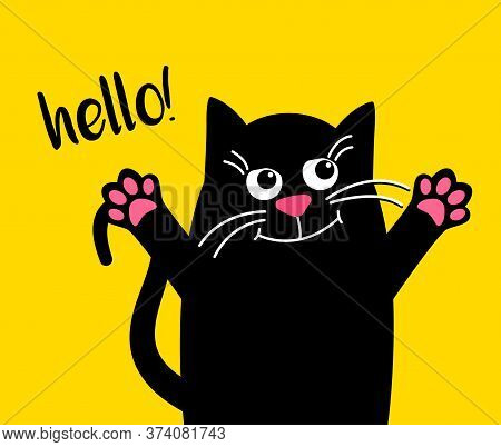 Happy Cute Cat With Text Hello. Kawaii Black Cat On Yellow Background. Hugs