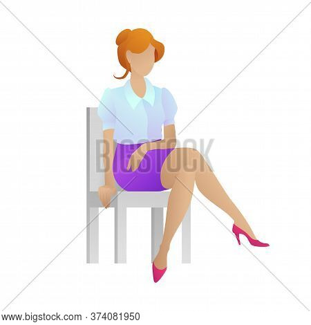 Cute Businesswoman Sitting On Chair. Female Assistant, Isolated On White Background. Young Women In