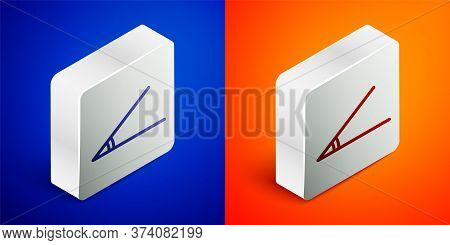 Isometric Line Acute Angle Of 45 Degrees Icon Isolated On Blue And Orange Background. Silver Square