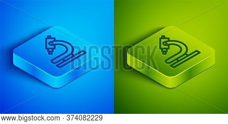 Isometric Line Microscope Icon Isolated On Blue And Green Background. Chemistry, Pharmaceutical Inst