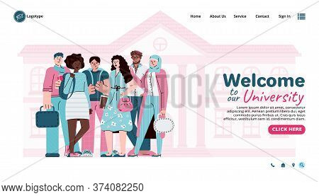 Welcoming University Website Page Or Banner Template With Group Of Multi Ethnic Students, Cartoon Ve