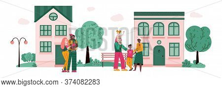 Diverse Hugging Happy Family Members Standing Against Houses, Cartoon Vector Illustration Isolated O