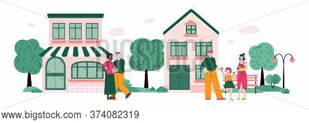 Happy Married Couple And Family Smiling And Hugging At Background With Houses, Cartoon Vector Illust