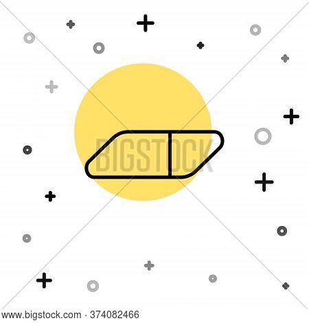 Black Line Eraser Or Rubber Icon Isolated On White Background. Random Dynamic Shapes. Vector Illustr