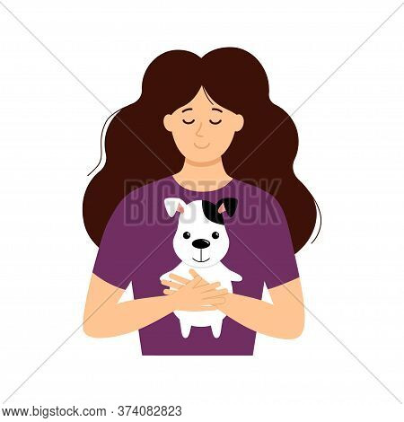 Vector Nice Cartoon Smiling Girl Hug A Cute Puppy, Woman Hold In Embrace Her Dog Lovely Pet Illustra