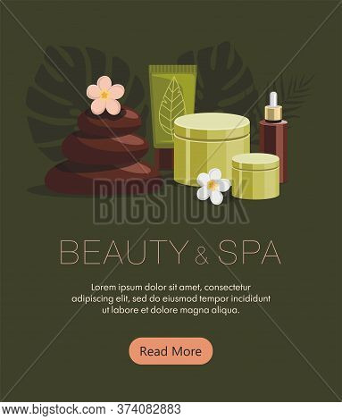 Spa Accessories.body Oil, Hot Stones, Lotion, Candle And Flowers On Green Background. Tropical Spa R