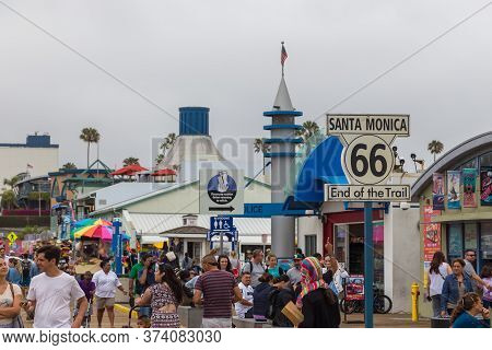 Santa Monica, California, Usa- 12 June 2015: People On The Santa Monica Pier. Shops, Restaurant And