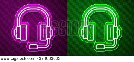 Glowing Neon Line Headphones Icon Isolated On Purple And Green Background. Support Customer Service,