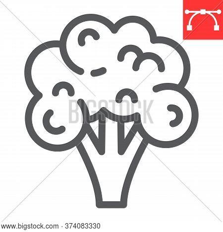 Broccoli Line Icon, Food And Keto Diet, Broccoli Sign Vector Graphics, Editable Stroke Linear Icon,