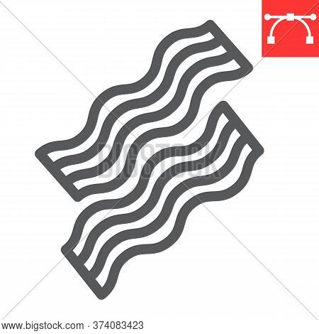 Bacon Line Icon, Food And Keto Diet, Bacon Stripes Sign Vector Graphics, Editable Stroke Linear Icon