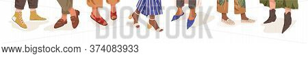 Collection Of Trendy Shoes On Diverse Female Legs Vector Flat Illustration. Bundle Of Colorful Boots