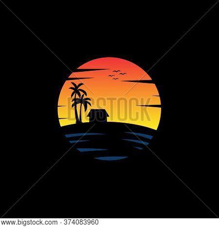 Ocean Beach Sunset Travel Logo Vector, Good For Travel And Business Company Logo