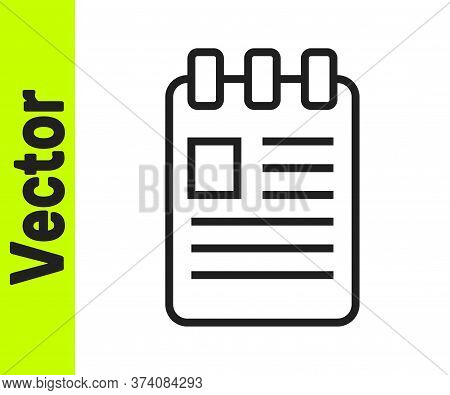 Black Line Notebook Icon Isolated On White Background. Spiral Notepad Icon. School Notebook. Writing