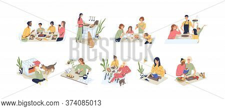 Set Of People At Kitchen Vector Flat Illustration. Collection Of Families, Couple, Man And Woman At