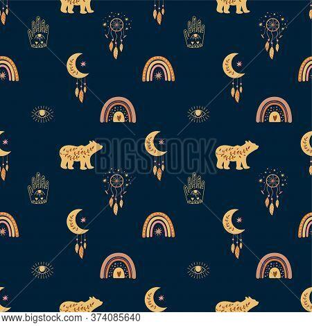 Kids Boho Seamless Childish Pattern Bohemian Bear Rainbows Moon Eye Hamsa Hand Dreamcatcher Feather