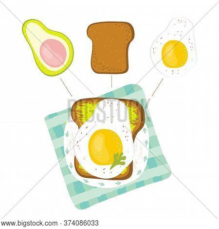 Infographic Healthy Diet Sandwich For Breakfast. Sandwich Ingredients - Avocado, Toast, Fried Egg, G