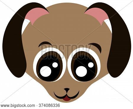 Cute Brown Puppy. Happy Little Dog. Pet. Muzzle With Big Eyes. Design For Pet Shop, Veterinary Clini