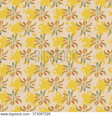 Yellow Floral Summertime Seamless Vector Pattern. For Feminine Fabrics, Girly Stationery, Textiles,