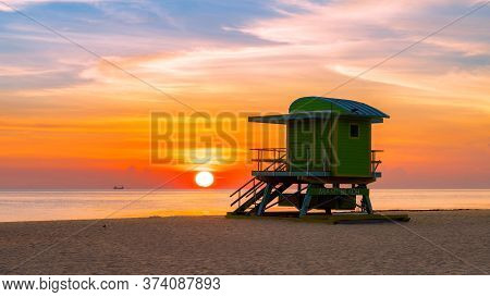 Beautiful Miami Beach At Sunrise And Life Guard Tower, South Miami Beach, Florida.