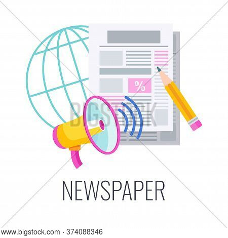 Newspaper Flat Vector Icon. Print Press. Megaphone Reports Information. Pencil Takes Notes. Outbound