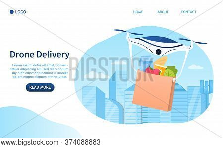 Drone Delivery Concept. Contactless Delivery Of Products. Catering Service. Air Delivery. Modern Tec
