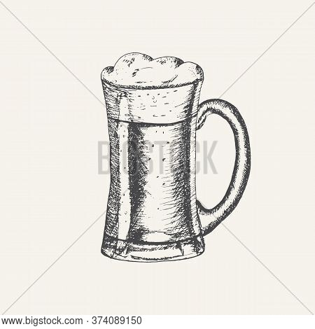 Glass Mug With Beer And Beer Foam Overflowing Over The Edge Isolated On White Background. Hand Drawn