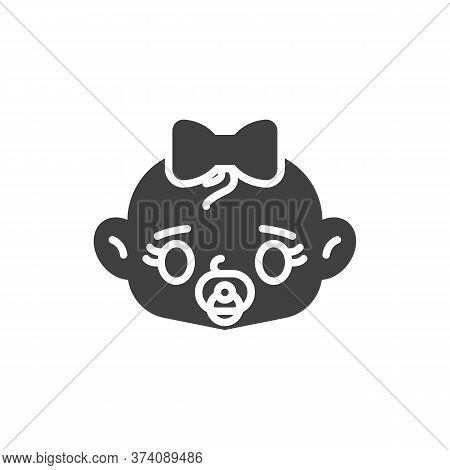 Baby Girl With Pacifier Vector Icon. Filled Flat Sign For Mobile Concept And Web Design. Baby Girl S