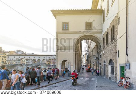 Florence, Italy - October 2019: Entrance To The Vasari Corridor, An Elevated Enclosed Passageway Alo