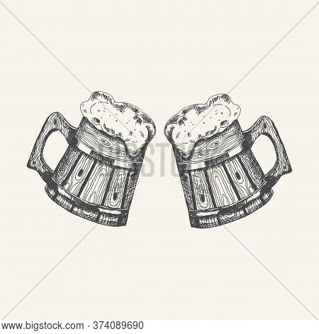 Wooden Mugs With Beer And Beer Foam Overflowing Over The Edge Isolated On White Background. Hand Dra