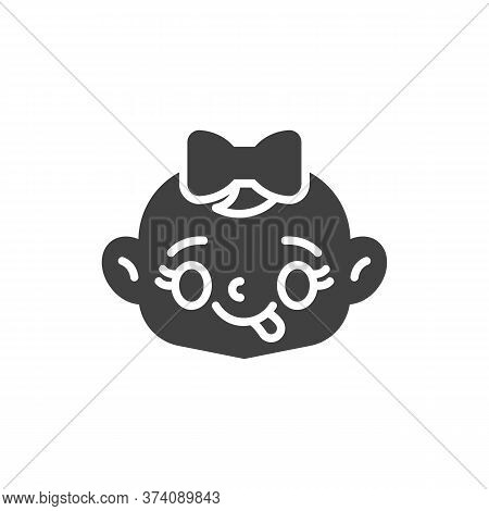 Baby Face Savoring Food Vector Icon. Filled Flat Sign For Mobile Concept And Web Design. Baby Girl S
