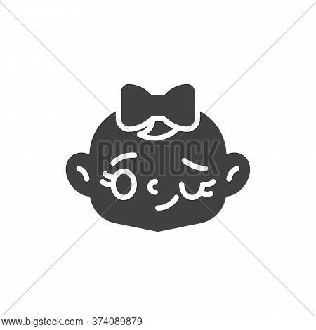Winking Baby Girl Face Vector Icon. Filled Flat Sign For Mobile Concept And Web Design. Winking Chil